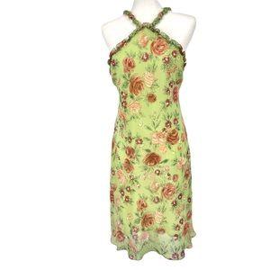 Muse Green Floral 100% Silk Dress